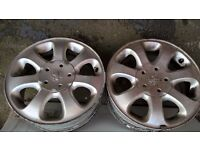 Peugeot 406 alloy wheels x4, 2 with tyres Avon ZT5, Good Condition, including centre caps