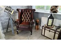 Oxblood Red Leather Chesterfield Fireside Wingback Armchair for sale (Delivery Available)