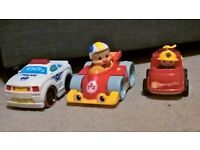 Toy cars, some with sound effects and music