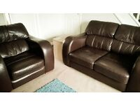 Two seater leather sofa and matching armchair in lovely condition