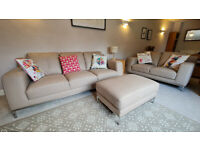 Leather sofa 3+2 with foot rest for 695£, collection only, egham area
