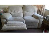 reclining cream sofa
