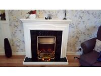 white wooden surround ,black insert,coal effect electric fire