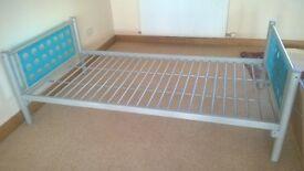 Single Bed Blue foot and Head board No mattress VGC STURDY METAL