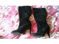 brand new unworn black velvet boots size 5