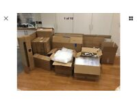 Moving cardboard boxes and packaging