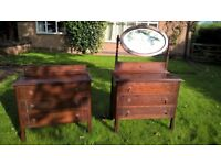 Dressing table and matching chest of drawers. Dark wood. Pretty