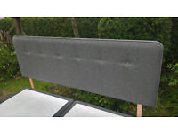 A New Myers Grey Upholstered Super King Size Headboard.
