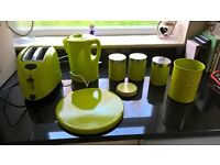 Lime Green Kitchen Set (kettle, toaster, 3 x caddies, utensil pot, 4 x place mats and coasters)