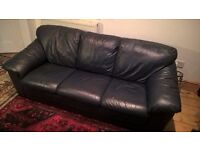 Soft Leather Sofa - dark blue
