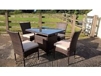rattan table & chair and cussion
