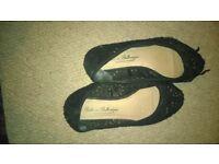 worn ladies shoes size 7 - lace flats