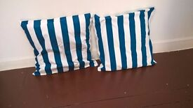 Two Large Cushions with Blue & White Stripe Cover