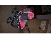 silver cross dolls pram in pink with grey and dolls buggy