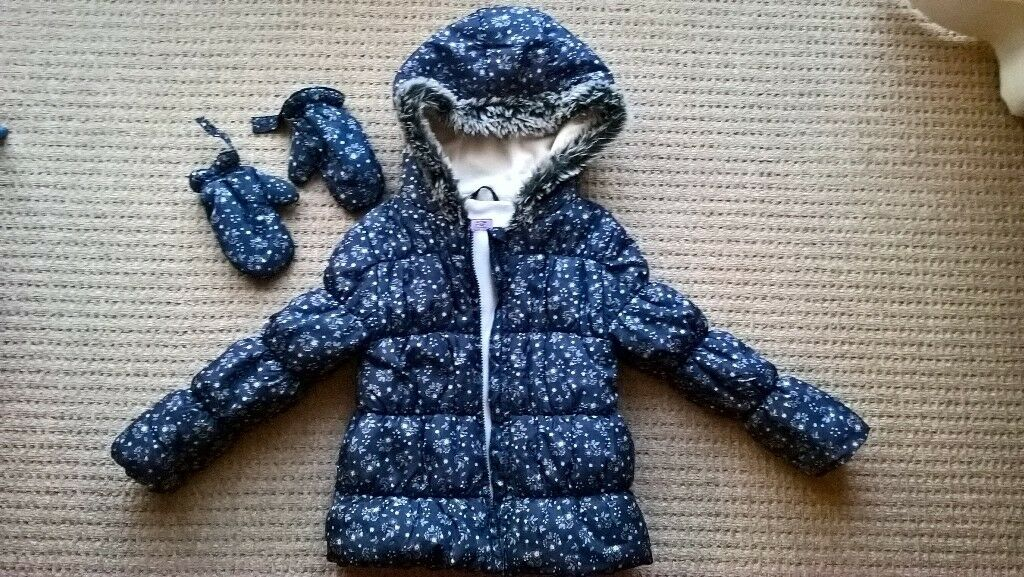 Girls Coat 5 - 7 years Grey Floral with hood and detachable Mittens