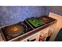 Pair of Technics 1210 Mk2 with executioner 10 mixer in coffin case