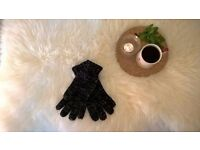 Black and Silver Sparkly Gloves