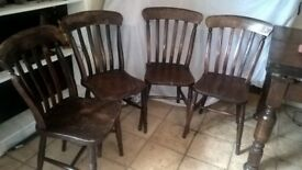 4 Antique Slat back dining chairs. Lovely condition