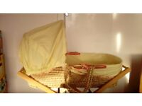 Mamas and papas moses basket, stand, clevamamma mattress and 4 fitted sheets