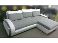 Corner sofa bed with bedding box