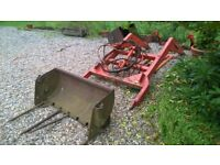 Front loader for vintage tractor (Ford/Fergie/Massey/IH/DB) with muck forks and bucket.