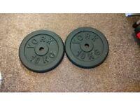 2 x 10kg York Cast Iron Weight Plates Newish