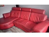 POLO DIVANI RED ITALIAN LEATHER CURVED CORNER SOFA 3 TO 4 SEATER