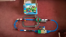 Thomas the Tank Engine and Cranky Deluxe Action track set with 4 trains with carriages, bus and boat