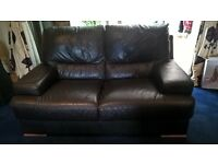 Two-Seater Brown Leather Sofa
