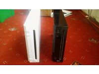 2 x Nintendo Wii console units only - 1 black and 1 white