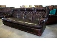 4 seater Chesterfield sofa settee Leather Delivery Poss
