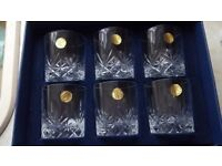 6no cristal darques old fashion whisky tumblers