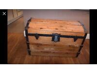 Wooden treasure chest storage box