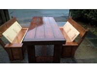 PRODUCED BY HAND COFFEE/DINING TABLES,BEDS,DRESSERS,TV UNIT,SIDEBOARD,GARDEN&PATIO BENCHES FROM £49