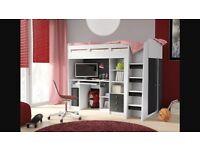 Mid Sleeper Desk Wardrobe Shelves