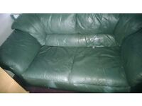 Free 2 Seater green leather settee suite