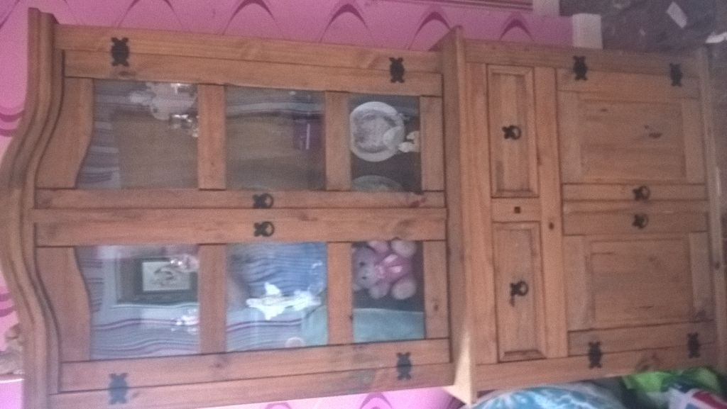 Mexican Pine Dresser With 3 Shelf Glass Cabinet On Top