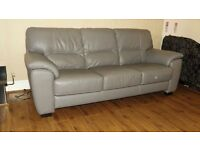 Designer grey leather pair of 3 seater sofas (48) £699
