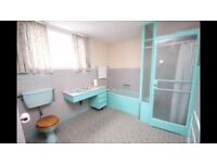 Stylish retro 1950s bathroom suite for sale with one of a kind shower cubicle and vanity basin.