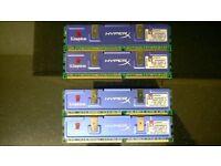 4x kingston hyperx ddr400 pc3200 modules 2x khx3200k2/2g (2gb) 2x khx3200ak2/1g (1gb) 3gb total