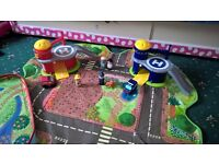 Happyland Toys - fire station, police station, vehicles, figures, storage box/playmat