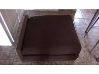 End chaise unit for corner sofa in brown.