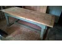 Antique style country pine dining table 7ft x 3 ft,