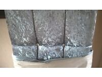 king size grey velvet headboard. diamante button detail. still in wrapping.