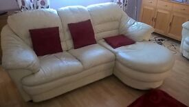 Cream Leather Sofa, Three Seater with extended end seat. Good condition