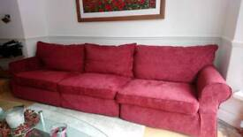 Collins and hayes large burgundy sofa