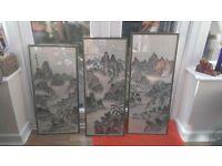 Set of three Chinese brush stroke paintings