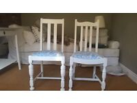 Hand painted and upholstered chairs