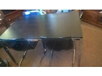 modern black and chrome table and 4 chairs delivery available