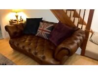 Brown leather Chesterfield Oskar large two seater sofa / settee
